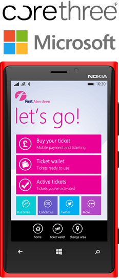 Corethree to Build First Windows Phone M-Ticket Application